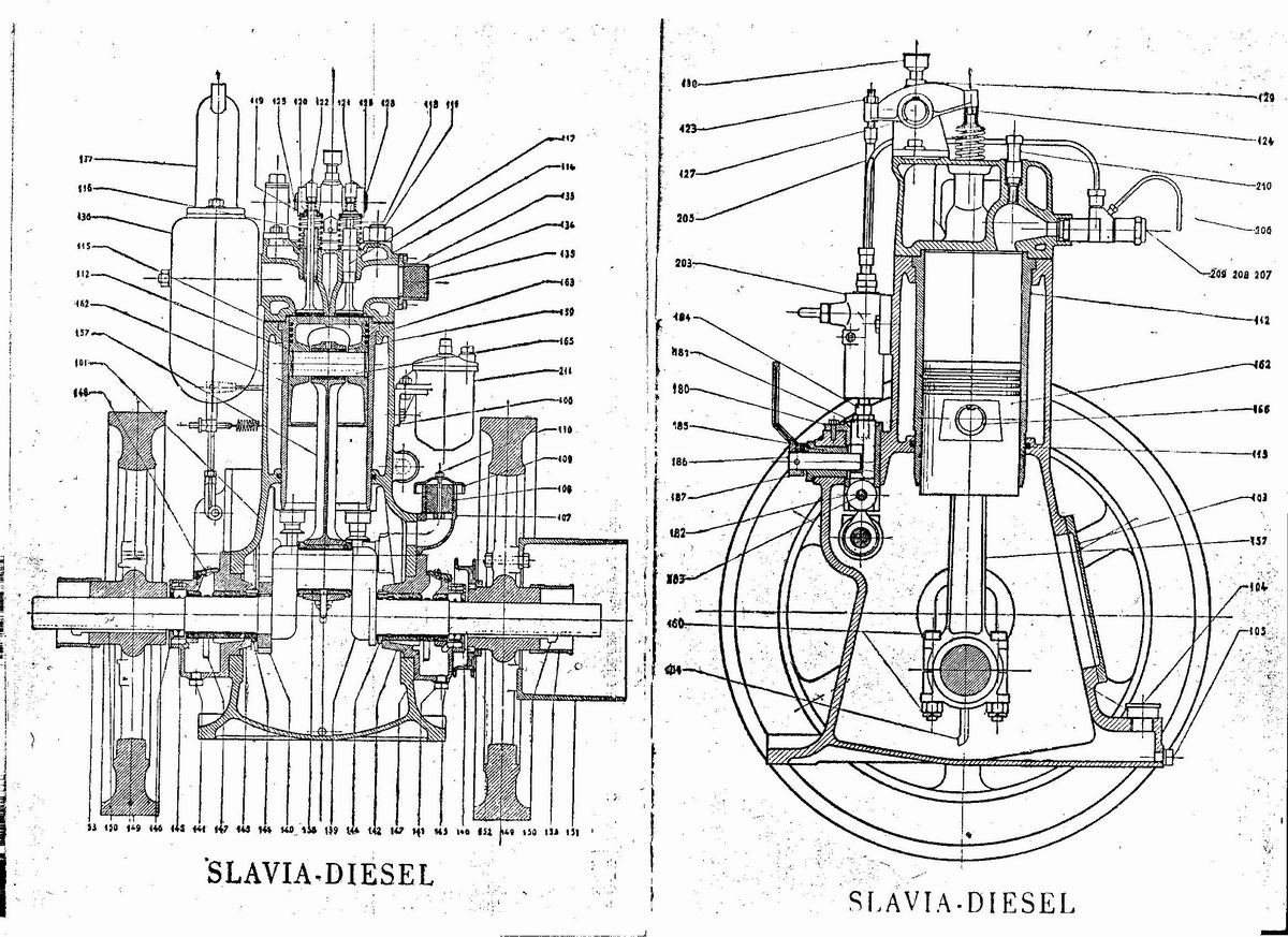 Slavia Diesel motor manual in 12 afbeeldingen